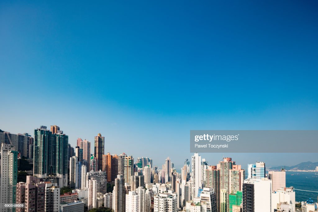 Densily built-up Sheung Wan residential district : Stock Photo
