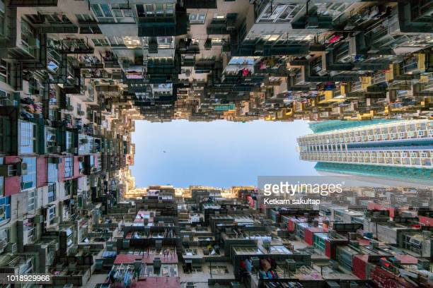density of public housing in hong kong - kowloon peninsula stock pictures, royalty-free photos & images