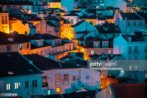 density of row houses in lisbon old town - portuguese culture stock pictures, royalty-free photos & images