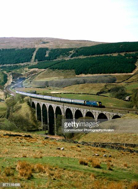 Dent Head Viaduct No 47211 heads north with the outward leg of a Cleethorpes Carlisle special United Kingdom
