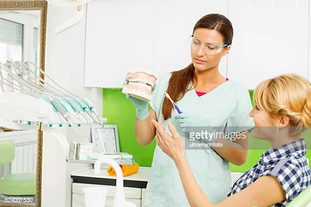 Dental Hygiene  Demonstration correct tooth brushing