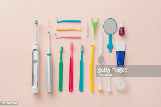 dental item knolling style - toothpaste stock pictures, royalty-free photos & images