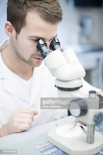 Dental technician looking through microscope at false tooth