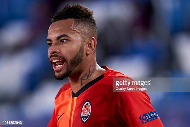 Dentinho of Shakhtar Donetsk reacts during the UEFA Champions League Group B stage match between Real Madrid and Shakhtar Donetsk at Estadio Alfredo...