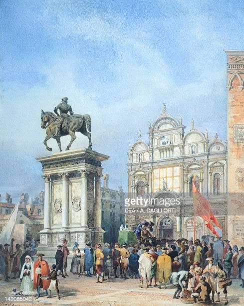 Dentist in the square of Santi Giovanni e Paolo in Venice by Martino del Don watercolour Italy 19th Century