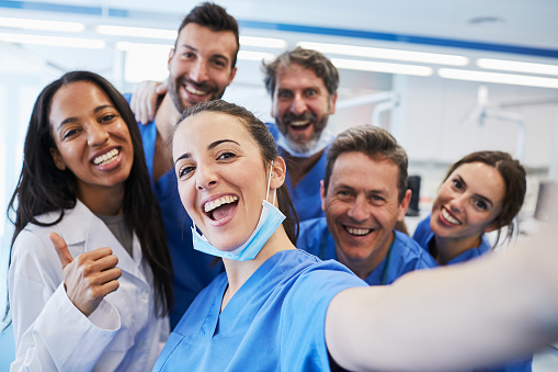 Dentist's office in Barcelona. Medical workers portrait. 687663798