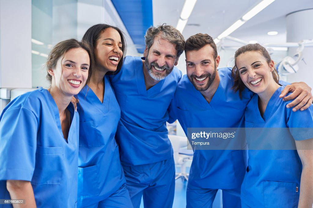 Dentist's office in Barcelona. Medical workers portrait. : Stock Photo
