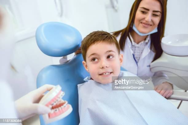 Dentists Showing Young Child An Example Of Human Teeth Prosthesis