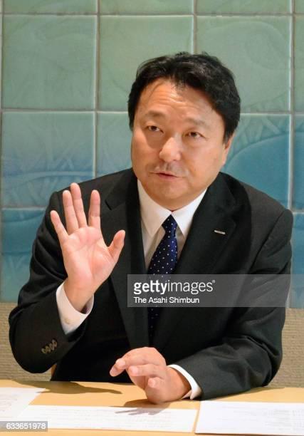 Dentsu President Toshihiro Yamamoto speaks during the Asahi Shimbun interview at the company headquarters on February 1 2017 in Tokyo Japan