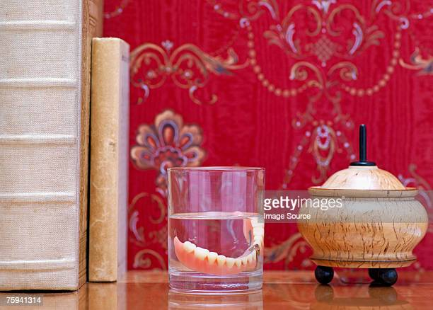 Dentures on bedside table