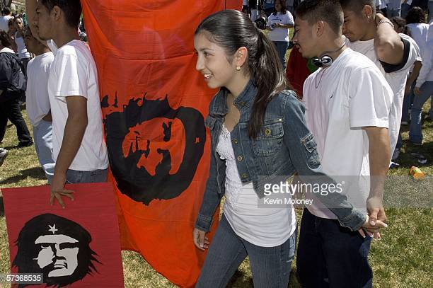 Denver area students who walked out of school carry Che Guevara banners during a rally April 19 2006 in Denver Colorado About 3000 middle and high...