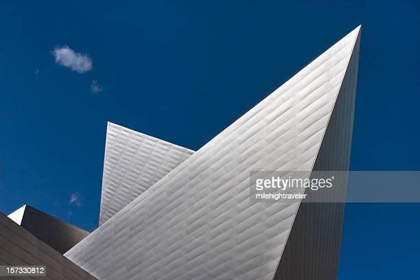 denver art museum angled architecture with cloud - denver stock photos and pictures