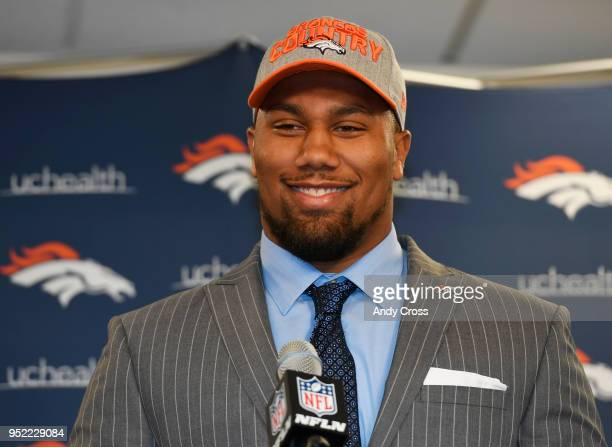 Denver Broncos 1st round draft pick Bradley Chubb during his introductory press conference at Dove Valley April 27 2018