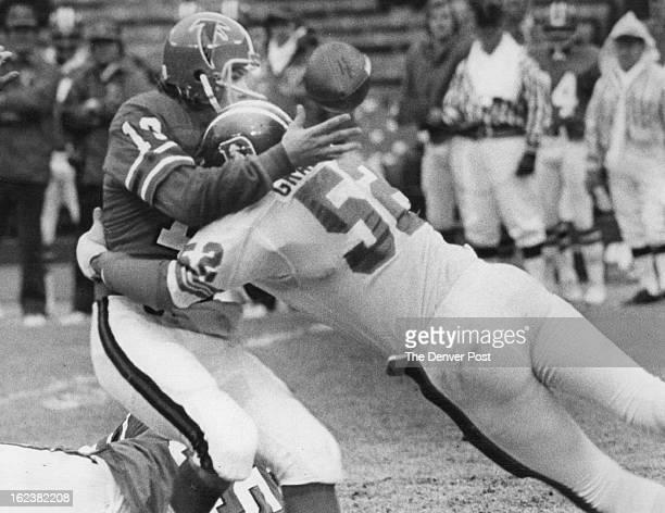 NOV 23 1975 NOV 24 1975 Denver Broncos About to get a helmet implant Linebacker Randy Gradishar of the Denver Broncos drives into quarterback Steve...