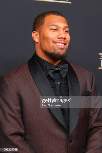 Denver Broncos Bradley Chubb poses for photos on the red carpet at the NFL Honors on February 2 2019 at the Fox Theatre in Atlanta GA