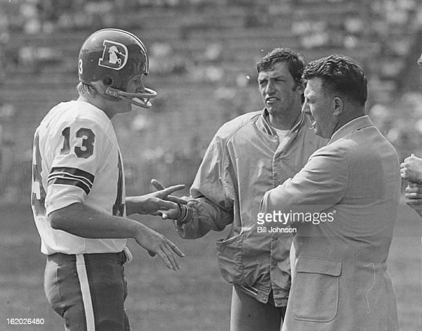 SEP 20 1970 SEP 21 1970 Denver Broncos Bronco Generals Discuss Game Strategy Quarterback Steve Tensi left discusses game situation with quarterback...