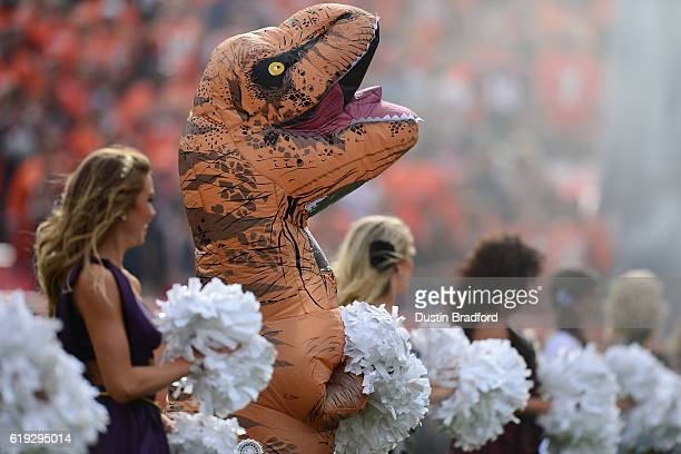 Denver Broncos cheerleader in a dinosaur costume before the game against the San Diego Chargers at Sports Authority Field at Mile High on October 30...