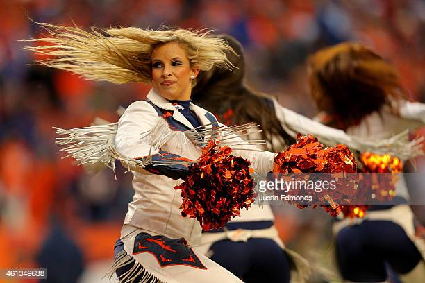 Denver Broncos cheerleader performs during a 2015 AFC Divisional Playoff game between the Denver Broncos and the Indianapolis Colts at Sports...