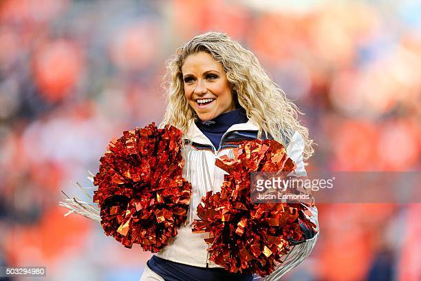 Denver Broncos cheerleader performs during a game against the San Diego Chargers at Sports Authority Field at Mile High on January 3 2016 in Denver...
