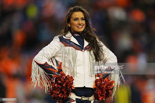 Denver Broncos cheerleader performs during the AFC Divisional Playoff Game against the San Diego Chargers at Sports Authority Field at Mile High on...