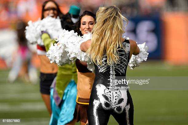 Denver Broncos cheerleaders embrace the Halloween spirit against the San Diego Chargers during the second quarter on Sunday October 30 2016 The...