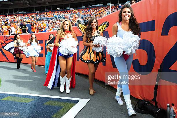 Denver Broncos cheerleaders in costumes for Halloween at Sports Authority Field at Mile High on October 30 2016 in Denver Colorado