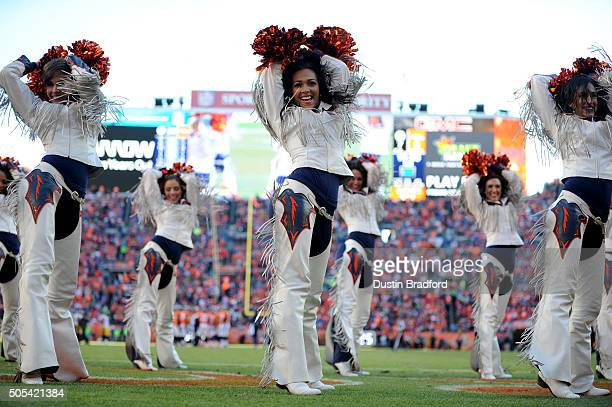 Denver Broncos cheerleaders perform during the first half of a game against the Pittsburgh Steelers during the AFC Divisional Playoff Game at Sports...