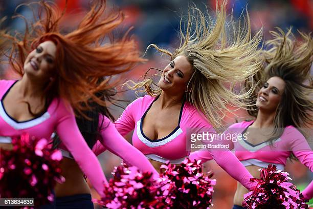 Denver Broncos cheerleaders perform during the game against the Atlanta Falcons at Sports Authority Field at Mile High on October 9 2016 in Denver...