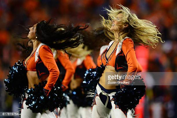 Denver Broncos cheerleaders perform during the game against the Houston Texans at Sports Authority Field at Mile High on October 24 2016 in Denver...