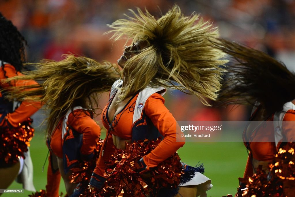 Denver Broncos cheerleaders perform during the game against the Los Angeles Chargers at Sports Authority Field at Mile High on September 11, 2017 in Denver, Colorado.