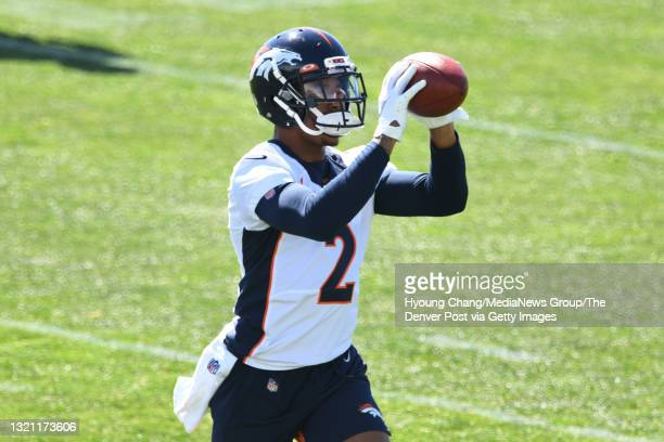 Denver Broncos corner backs Pat Surtain II , is in the team practice at UCHealth Training Center in Englewood, Colorado on Tuesday, June 1, 2021.