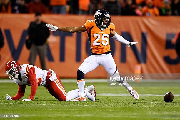 Denver Broncos cornerback Chris Harris celebrates breaking up a thirddown pass attempt to Kansas City Chiefs wide receiver Albert Wilson during the...