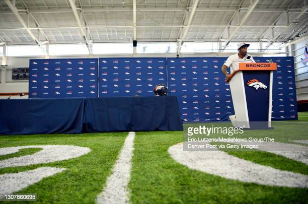 Denver Broncos cornerback Ronald Darby answers questions after General Manager of the Denver Broncos George Paton introduced Darby and Broncos...