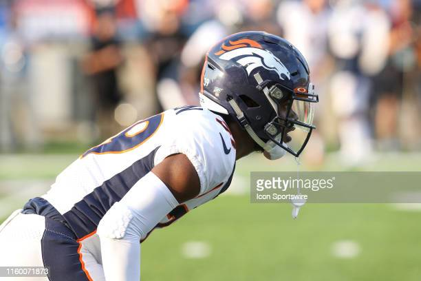 Denver Broncos cornerback Trey Johnson is seen during warmups prior to the start of the Hall of Fame Game between the Atlanta Falcons and the Denver...
