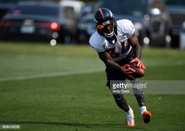 Denver Broncos defensive back Will Parks snags the ball at Dove Valley August 04 2017