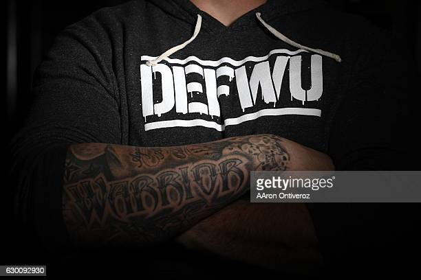 Denver Broncos defensive end Derek Wolfe poses for a portrait in a DEFWU hoodie at Landow Performance on Thursday December 15 2016 DEFWU is Wolfe's...
