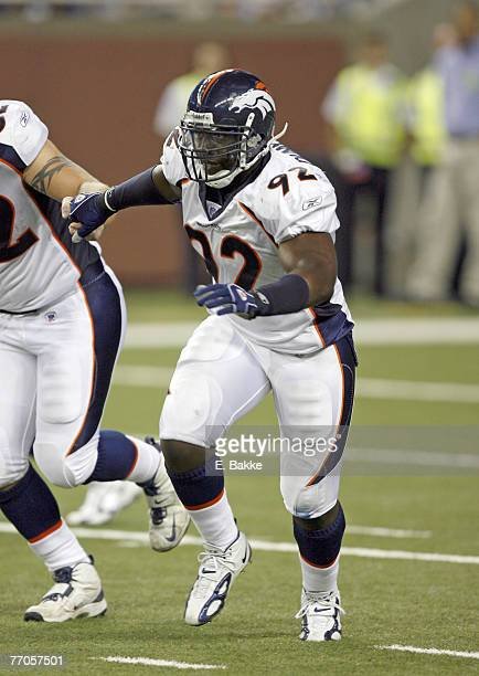 Denver Broncos defensive end Elvis Dumervil looks for a block on a kickoff during action against the Detroit Lions at Ford Field August 11, 2006