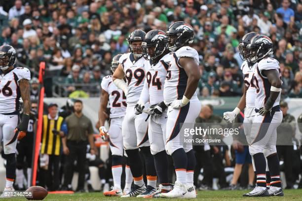Denver Broncos defensive line sets up during a NFL football game between the Denver Broncos and the Philadelphia Eagles on November 52017 at Lincoln...
