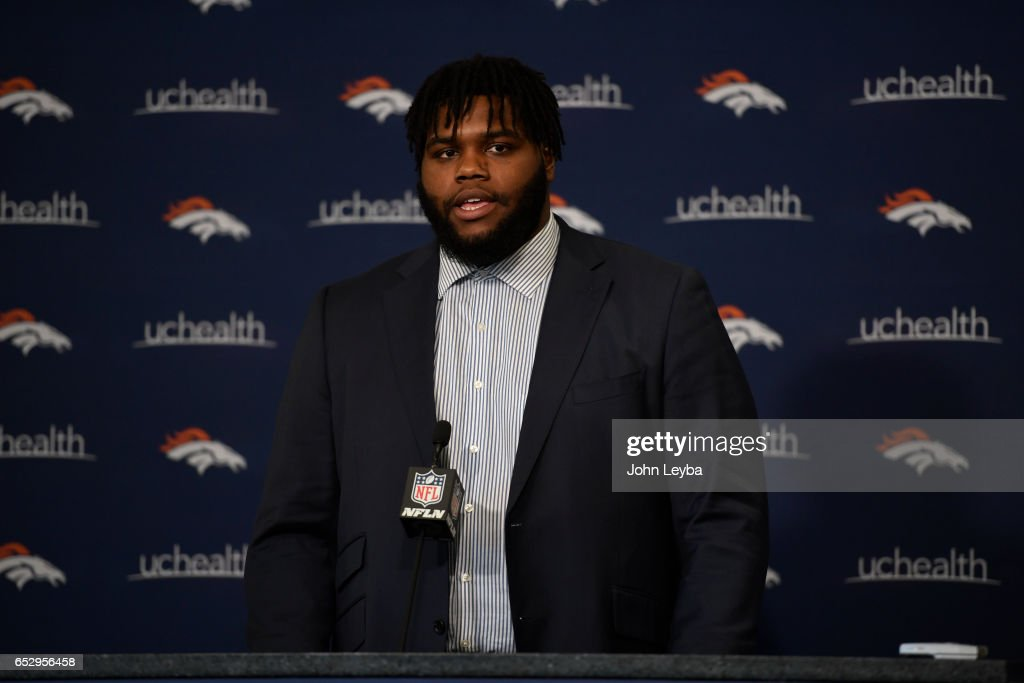 Denver Broncos defensive lineman Zach Kerr addresses the media on March 13, 2017 in Denver, Colorado at Dove Valley. Kerr signed a two-year contract with the club