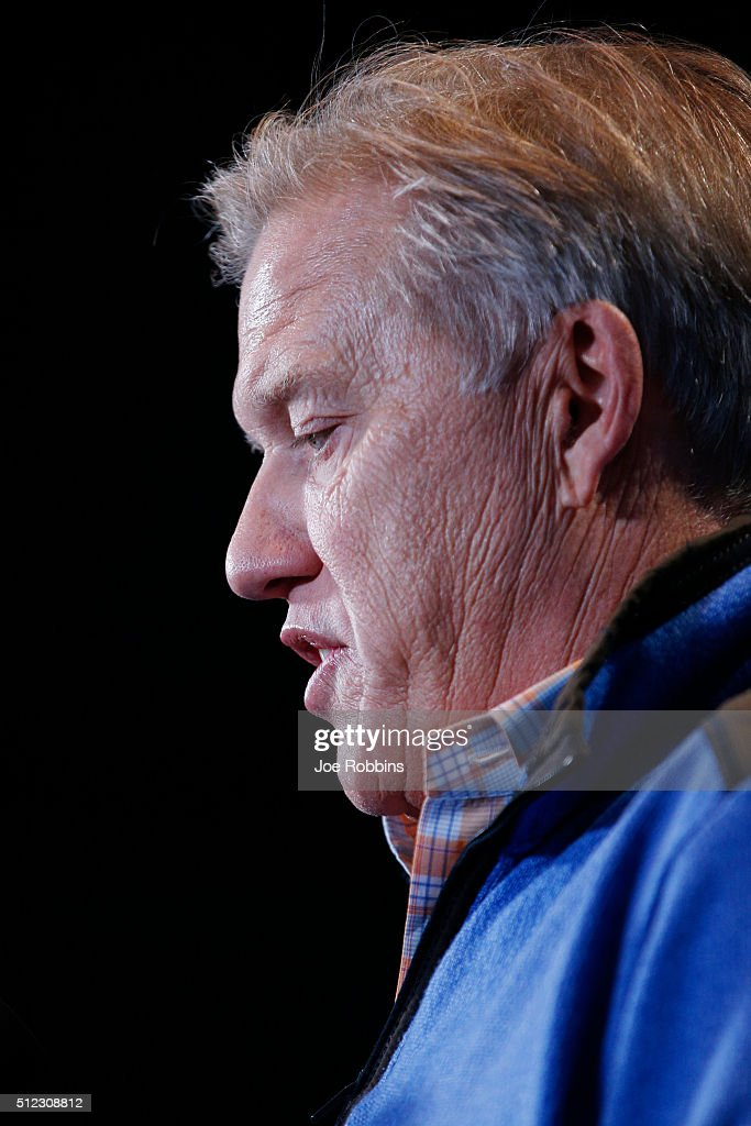 Denver Broncos executive vice president and general manager John Elway speaks to the media during the 2016 NFL Scouting Combine at Lucas Oil Stadium on February 25, 2016 in Indianapolis, Indiana.
