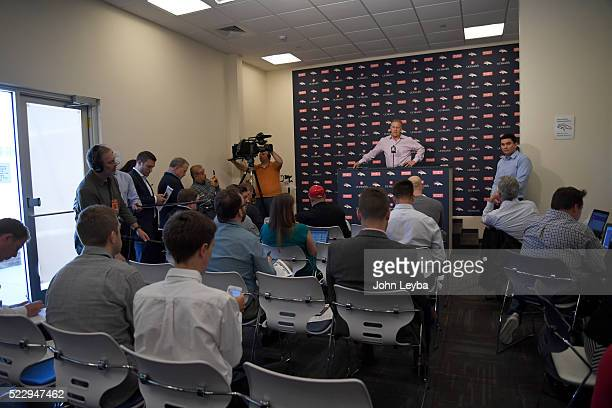 Denver Broncos executive vice president of football operations and general manager John Elway addresses the media April 21 2016 during a press...