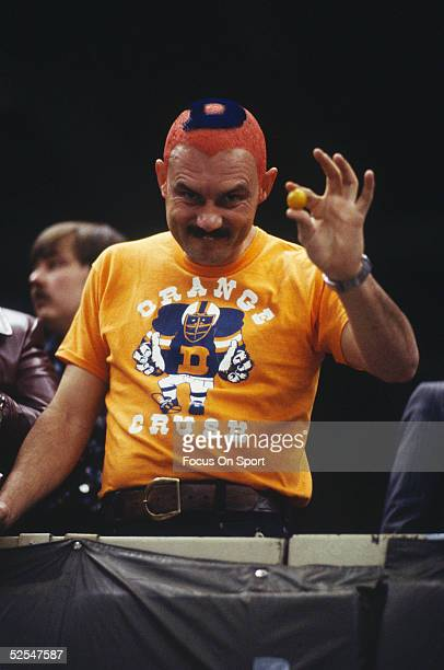 Denver Broncos Fan shows his colors during Super Bowl XII featuring the Dallas Cowboys and the Denver Broncos at the Superdome on January 15 1978 in...