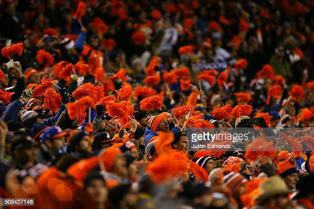 Denver Broncos fans cheer in the fourth quarter during the AFC Divisional Playoff Game at Sports Authority Field at Mile High on January 17 2016 in...