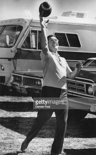 Denver Broncos Fans Hugh Tighe owner of Dodge tosses a football to a friend before start of the game Some persons have been camping at parking lot...