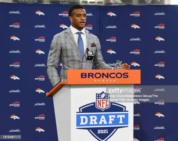 Denver Broncos first round draft pick, Patrick Surtain II during his introductory press conference at the UCHealth Training Center's Pat Bowlen...