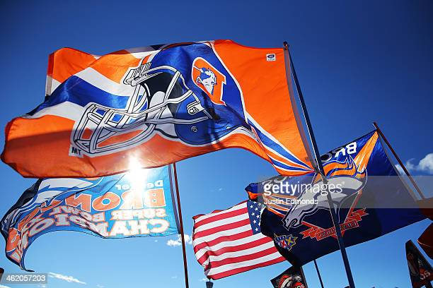 Denver Broncos flags are displayed prior to the AFC Divisional Playoff Game between the Denver Broncos and the San Diego Chargers at Sports Authority...