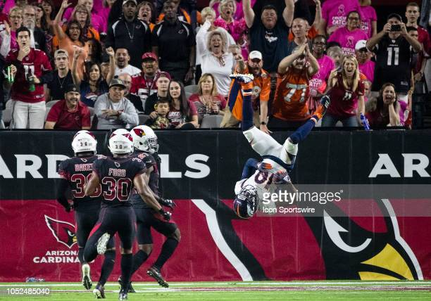 Denver Broncos flips into the end zone for a touchdown during NFL football game between the Arizona Cardinals and the Denver Broncos on October 18...
