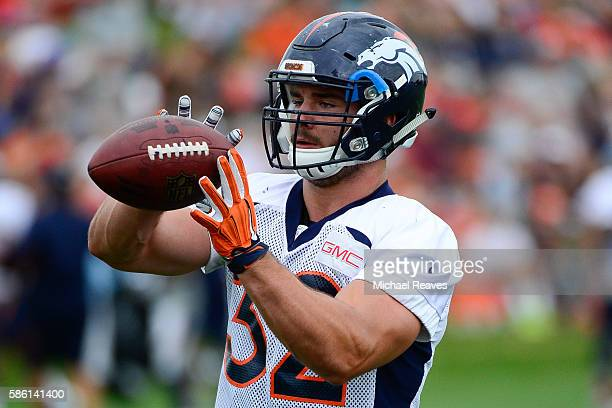 Denver Broncos fullback Andy Janovich catches a pass during practice at training camp on August 2016 in Dove Valley