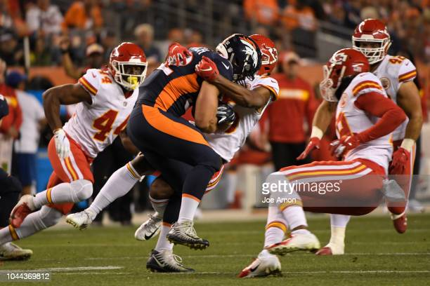 Denver Broncos fullback Andy Janovich is taken down on a kickoff return in the second quarter as the Denver Broncos played the Kansas City Chiefs at...