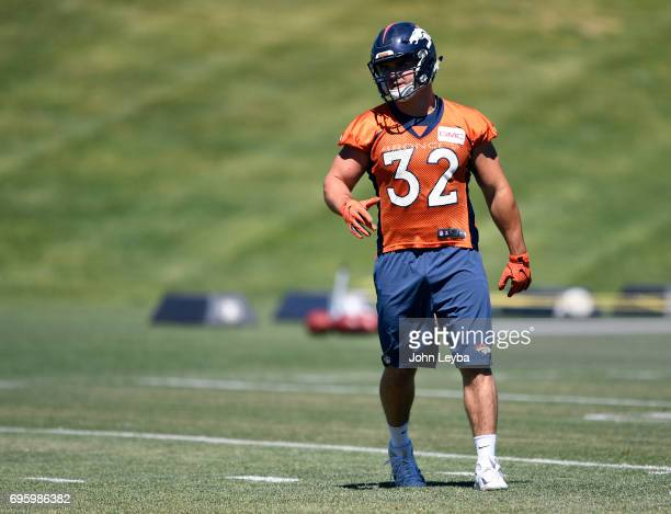 Denver Broncos fullback Andy Janovich runs through drills during practice at mandatory mini camp on June 14 2017 in Englewood Colorado at Dove Valley